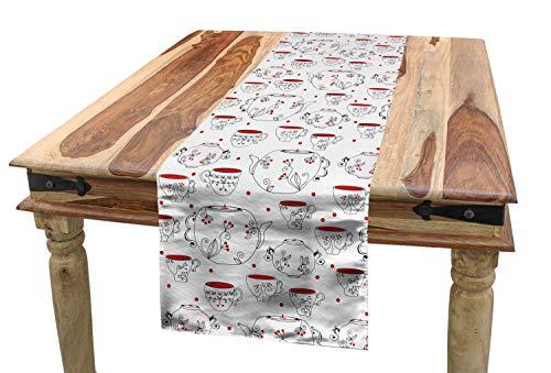ABAKUHAUS Theekransje Tafelloper, Doodle Style Serviesgoed, Eetkamer Keuken Rechthoekige Loper, 40 x 300 cm, Rood Zwart Wit