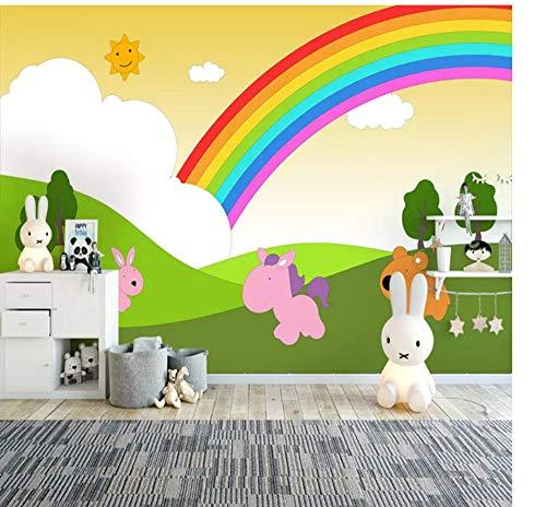 Guokaixyz fotobehang 3D-fotobehang voor kinderkamer slaapkamer cartoon handgeschilderde regenboog kinderkamer kleuterschool decoratie wandfoto vlies 200x140cm