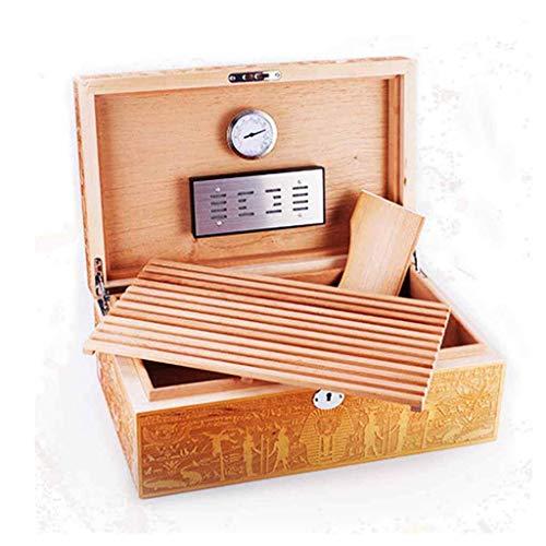 hyywmgx Productos para el hogar Humidor de Puros Tallado a Mano para 75 Puros Caja Forrada de Cedro de Escritorio con higrómetro y humidificador, Caja de Almacenamiento de Puros w