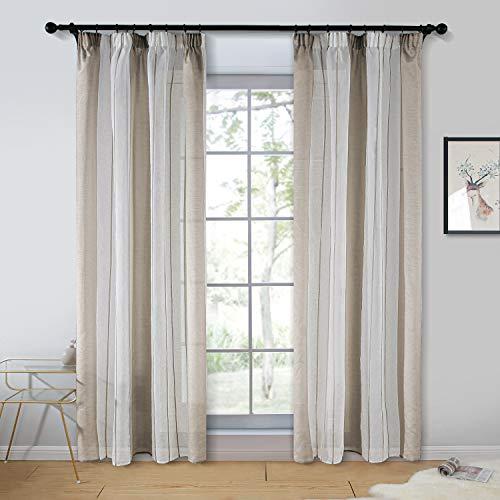 Topfinel 2er Set Transparent Khaki-Weiß-Streifen Voile Gardinen mit Kräuselband Dekoration Vorhänge Für Kinderzimmer,140x235cm