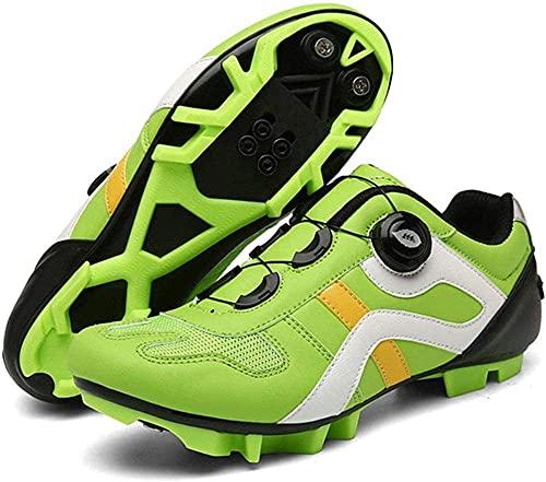 CHUIKUAJ Calzado de Ciclismo MTB para Hombre - con Candado Calzado de Bicicleta Calzado Deportivo de Carreras Unisex Calzado de Montaña,Green-EU39