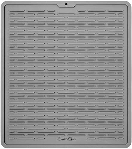 GOOD TO GOOD Silicone Dish Drying Mat - Kitchen Sink Organizer - Waterproof Countertop Mat 17.6 x 15.6 inches - XL GRAY