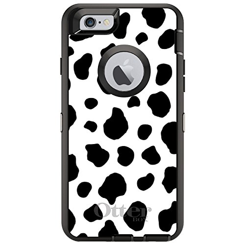 DistinctInk Case for iPhone 6 / 6S (NOT Plus) - Replacement for OtterBox Defender Black Custom Case - Black White Cow Dalmatian Spots - Animal Print