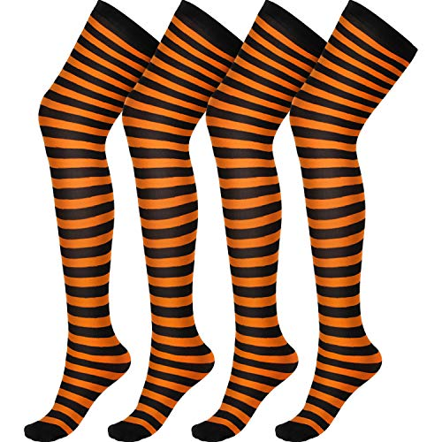 SATINIOR 2 Paar Halloween Womens Orange und Schwarz über Knie Lange Gestreifte Oberschenkel Hohe Socken