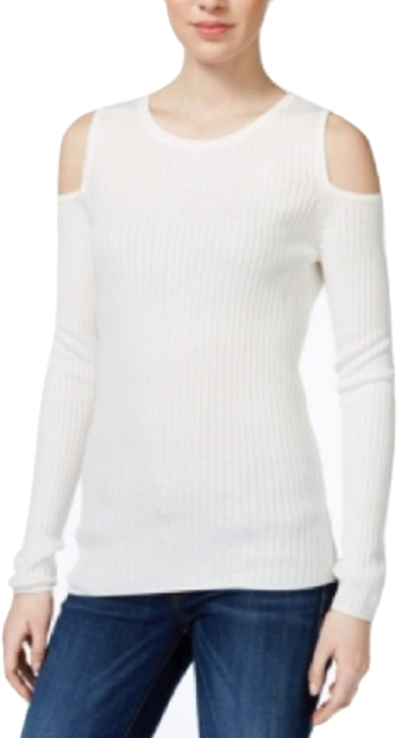 Bar III Ribbed ColdShoulder Top, White, Small