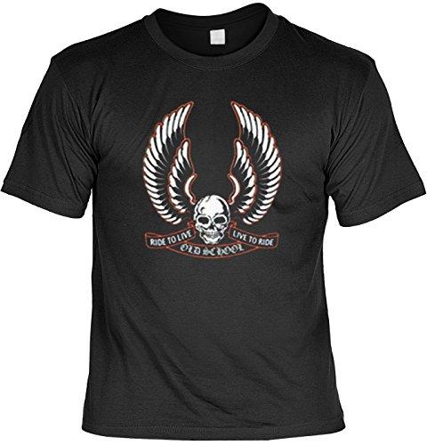 Totenkopf mit Flügel Tshirt Ride to Live - Live to Ride Fb schwarz Größe XL