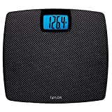 Taylor Precision Products 500 lb. Digital Extra Thin Bathroom Scale Extra-High Weight Tracking Carbon Tempered Glass (Black Carbon)