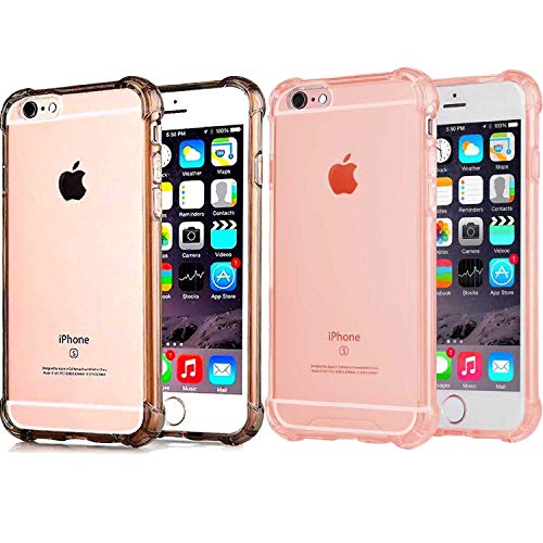 [2Pack] CaseHQ Compatible with iPhone 6 Plus Case, iPhone 6S Plus Case,Crystal Clear Enhanced Grip Protective Defender Cover Soft TPU Shell Shock-Absorption Bumper Air Cushioned 4 Corners Grey+Pink