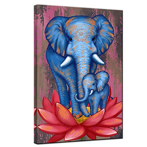 sechars Elephant Painting Wall Art Blue Tribal Elephant Mom and Baby on Lotus Flower Poster Art Prints on Canvas Artwork Modern Animal Picture Decor for Home Living Room Office Ready to Hang 24x36inch