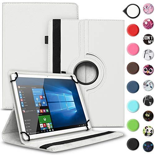 UC-Express Tablet Schutzhülle kompatibel für Archos 70 Xenon - Oxygen Tasche aus hochwertigem Kunstleder Hülle Standfunktion 360° Drehbar Cover Universal Case, Farben:Weiß