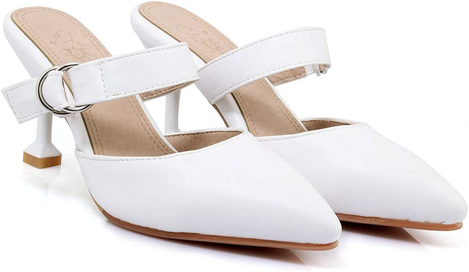 Eora-2sl Black White Summer Pointed Toe shoes Woman Elegant Casual Women high Heels Slippers Big Size 33-43
