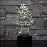 Lámpara de ilusión 3D Sailor Moon Led Luz de noche con control remoto,...
