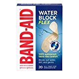 Band-Aid Brand Water Block Flex 100% Waterproof Adhesive Bandages for First-Aid Wound Care of Minor Cuts, Scrapes & Wounds, Ultra-Flexible Design, Sterile, All One Size, 20 ct