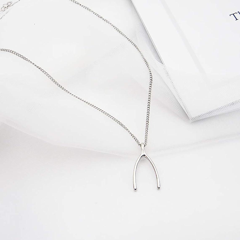 Leiothrix Minimalist Wishbone Necklace Pendant Chain Collar Choker Jewelry for Women Girls (Silver)