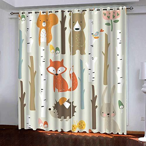 nobrand 3D Kinderzimmer Verdunkelungsvorhänge Cartoon Fuchs,Polyester Vorhänge Für Schlafzimmer Kinderzimmer Wohnzimmerdekoration150X166Cm