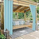 YMOMG Outdoor Vorhänge?Außenvorhänge Gartenterrasse Pavillon Sonnensichere Verdunkelungsvorhänge (210W×230Lcm,Hellblau)