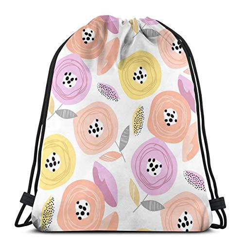 Nonebrand - Bolsa de viaje con cordón para hombre, diseño de flores, color pastel