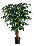 Seidenblumen Roß Ficus Benjamini 90cm grün DA künstlicher Baum Pflanze Kunstbaum Dekobaum Kunstpflanzen Zimmerpflanze Birkenfeige