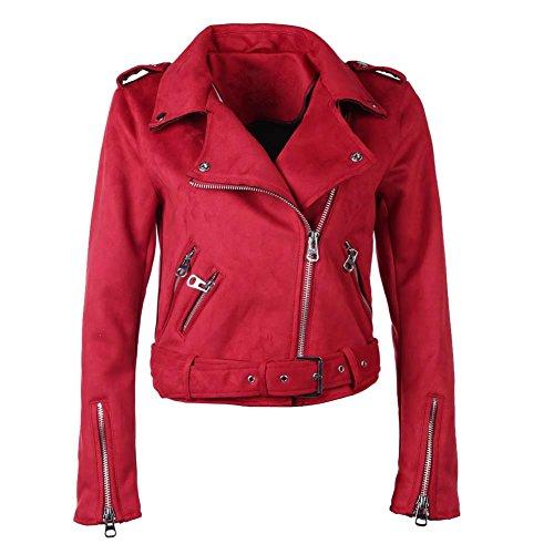 Domybest Jacke Damen rot übergangsjacke Wildleder Jacke Reißverschluss Slim L