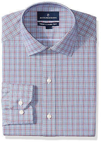 Amazon Brand - Buttoned Down Men's Tailored Fit Spread-Collar Pattern Non-Iron Dress Shirt, Blue/Red Windowpane Plaid, 19.5