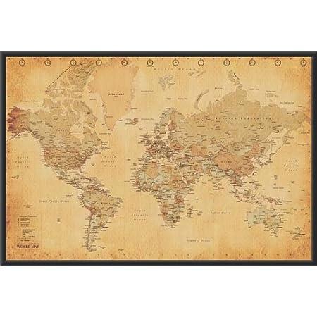 Buyartforless Framed World Map Vintage Style 36x24 Art Poster Print Wall D Cor Poster Frame Sets Posters Prints