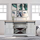 ENSTVER 58' Modern Farmhouse Wood TV Stand with Sliding Barn Door,Media Console Entertainment Center,for Home Living Room (Off-White & Rustic Oak)