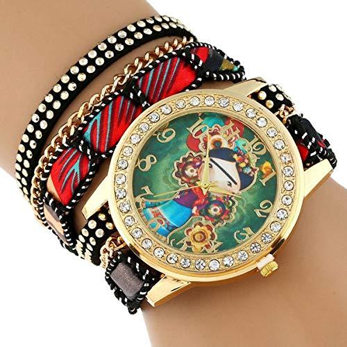 Large Strap grandi di manopola nativo di stile etnico fiori Donna orologio da polso in pizzo Bracciale Black Watch OneSize