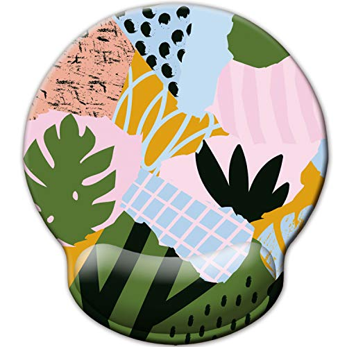 Mouse Pad with Wrist Rest Support, Custom Original Memory Foam Wrist Rest Pad Non-Slip Ergonomic Desk Gaming Mouse Mat for Home & Office (Abstract Cute Summer Leaves Memphis)