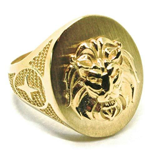 Anello in Oro giallo , 750 , 18K , a fascia , uomo , testa di leone in rilievo molto dettagliato , MADE IN ITALY