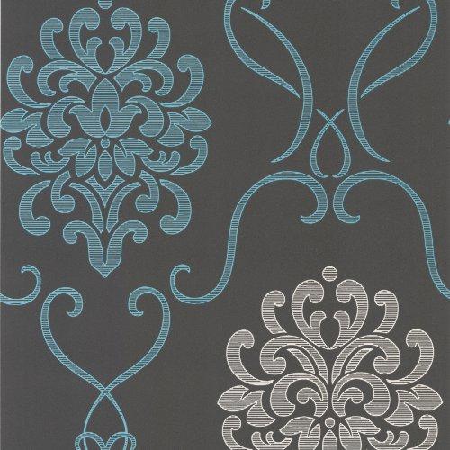 Decorline DL30443 Suzette Aqua Modern Damask Wallpaper Wallpaper