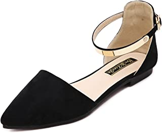 Meeshine Womens D'Orsay Pointy Toe Ankle Strap Buckle Comfort Ballerina Ballet Flats Shoes