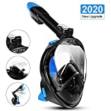 LALAYA Snorkel Mask 180 Degree Vision, Full Face Diving Mask Free Breathing Design Anti-Fog and Anti-Leak Technology with Sport Camera Mount for Adults(Black S/M)