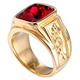 NA Stainless Steel Men's Ring Gold Square Red Diamond Cubic Zirconia Dragon Carved