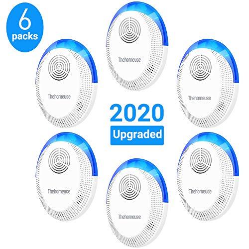 Thehomeuse Repellente Ultrasuoni, Ultrasuoni per Topi Anti Zanzare 6 Pack, Antizanzare Ultrasuoni Repellenti per Insetti Topi Scarafaggi, Insetti, Ratti, Ragni, Formiche, Insetti, Roditori, 2020
