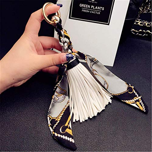 Keychains Fashion Scarves Key Holder Bowknot Exquisite Decoration Pu Leather Tassels Keychains Women Bag Charm Pendant White