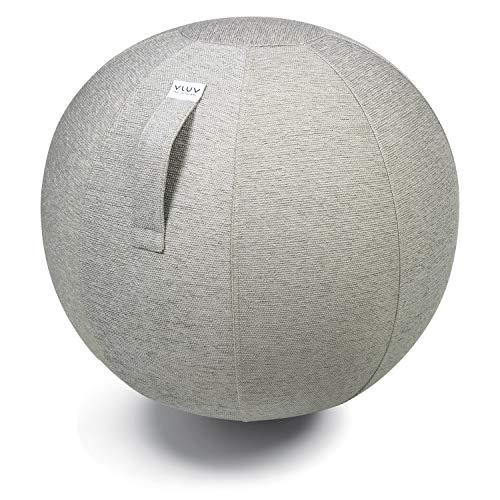 VLUV STOV Stoff-Sitzball, ergonomisches Sitzmöbel für Büro und Zuhause, Farbe: Concrete (grau), Ø 60cm - 65cm, hochwertiger Möbelbezugsstoff, robust und formstabil, mit Tragegriff
