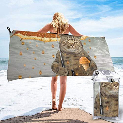 Toalla de baño de Lluvia Cat in Oranges, Toalla de Gimnasio, Toalla de Playa, súper Absorbente, Microfibra de Secado rápido Suave, Ligero, Blanco, 27.5 'x55