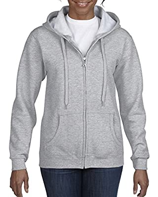 Gildan Women's Full Zip Hooded Sweatshirt, Sport Grey, Medium