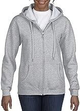 Gildan Women's Full Zip Hooded Sweatshirt, Sport Grey, Large