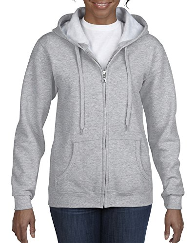 Gildan Women's Full Zip Hooded Sweatshirt, Sport Grey, X-Large