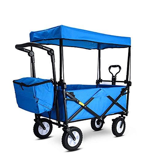LLSS Carro Plegable, Carro de Jardín Portátil Capacidad 80 Kg, con Cinturón de Seguridad, Toldo, Bolsa Nevera, Lonchera Grande, para Picnics, Camping, Compras, Playas, Conciertos