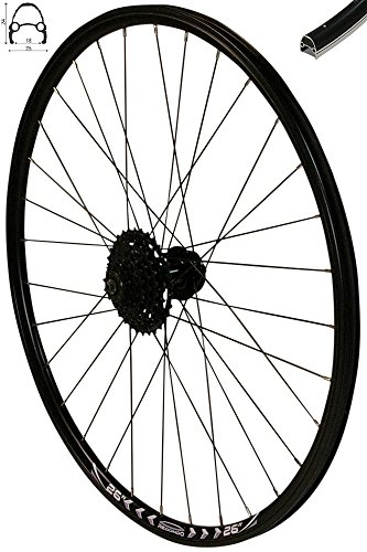 Redondo 26 Zoll Hinterrad Laufrad Felge Schwarz Disc + 8-Fach Shimano Kassette