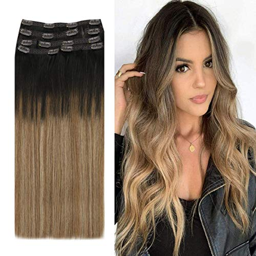 YoungSee Clip Extension Cheveux Naturel Ombre - Balayage Brun Fonce Ombre Brun Moyen avec Blond Caramel #2/6/27 - Extension a Clip Naturel Cheveux 7pcs/100g 16Pouces