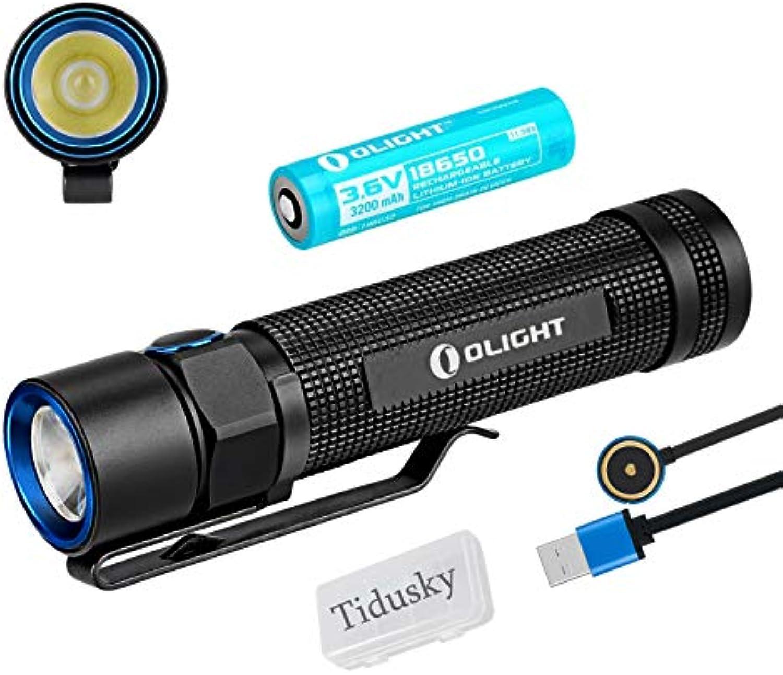 Olight S2R BATON Tragbare Taschenlampe 1020 Lumen Cree XM-L2 LED Magnetic MCC USB aufladbar Taschenlampen für draussen camping, mit 18650 Batterie + Tidusky Batteriekasten