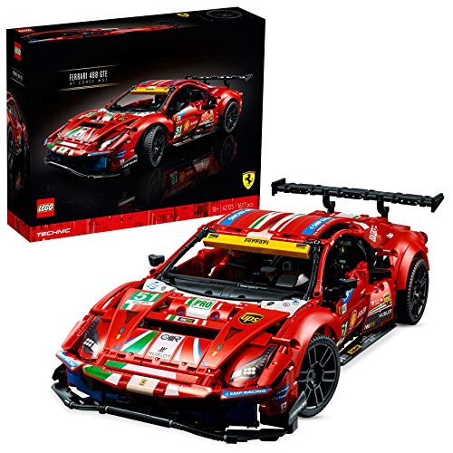 """LEGO 42125 Technic Ferrari 488 GTE """"AF Corse #51', Modelo de Coche de Carreras Exclusivo, Set para Adultos Coleccionable"""
