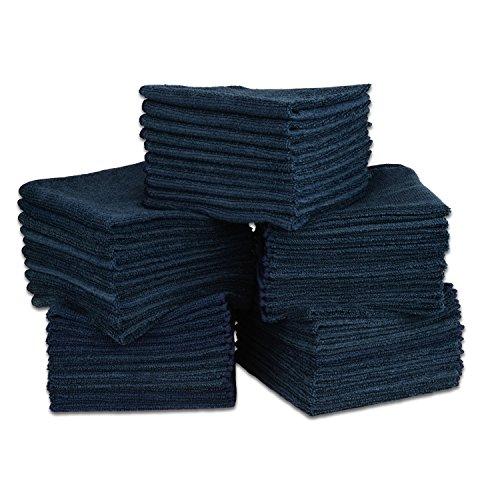 "12"" X 12"" All Purpose Microfiber Towels - 50 Pack| No Fraying | High Density Microfiber | Chemical Free Cleaner | Long-Lasting (Black)"
