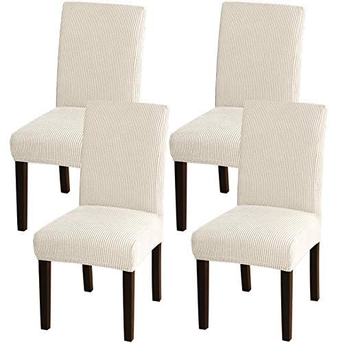Turquoize Chair Covers for Dining Room Dining Chair Covers Set of 4 Stretch Dining Chair Slipcover Parsons Chair Covers Removable Chair Protector Covers for Dining Room, Hotel (4, Biscotti Beige)