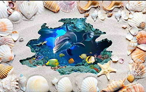 Etiqueta Engomada Del Azulejo Papel Pintado De Foto 3D Personalizado Ocean World Dolphins Suelo 3D Sala De Estar Vinilo Adhesivo Rollo Suelo De Baldosas Baño-150 * 105Cm Para La Decoración Del Hogar