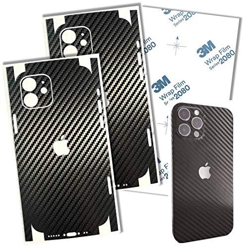 TF Skins iPhone 12 Mini Skin (2X Stück) Schutzfolie für die Rückseite und Seiten in edler Optik inkl. Kameraschutz Schutz vor Kratzern (Carbon Black)
