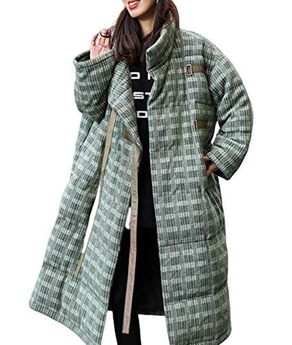 NANXCYR Lichtgewicht donsjack dames lange vaste bovenkleding lange mouwen dames lange jas warm trekker met zakken winter-